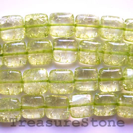 Bead, ice flake quartz, dyed, green, 12mm square. 16-inch