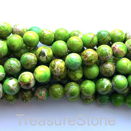 Bead, Imperial Jasper, dyed, Green, 10mm round. 16-inch, 40pcs