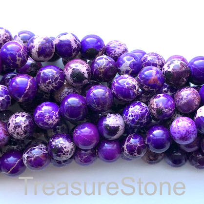 Bead, Imperial Jasper, dyed, Purple, 8mm round. 16-inch, 50pcs
