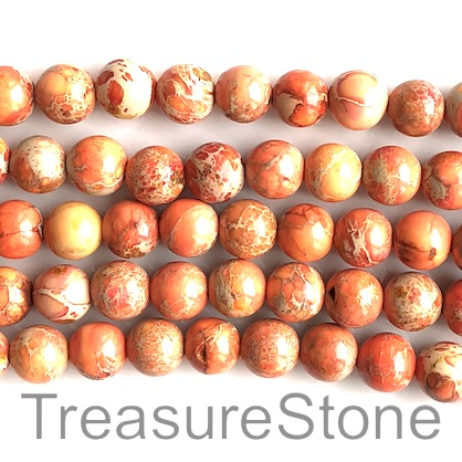 Bead, Imperial Jasper, dyed, orange, Round, 8mm. 15.5 inch,50pcs