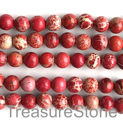 Bead, Imperial Jasper, dyed, red, Round, 8mm. 15.5 inch, 50pcs