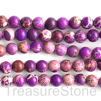 Bead, Imperial,impression Jasper, mid purple, 8mm. 15.5 inch, 50