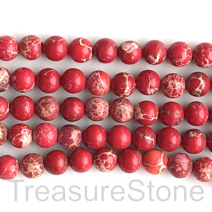 Bead, Imperial,impression Jasper, dyed, red, 8mm. 15.5 inch,47