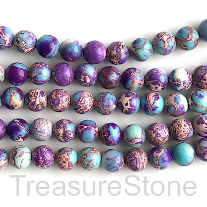 Bead, Imperial,impression Jasper, mid purple, 8mm. 15 inch, 45