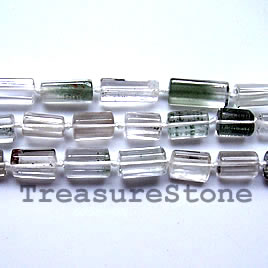 Bead, rutilated quartz(Iodalite), 10x15mm faceted tube. 16-inch