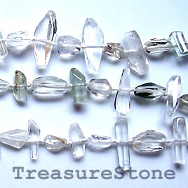 Bead, rutilated Quartz, 6x18mm (Iodalite) freeform. 16-inch