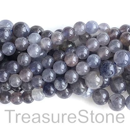 Bead, iolite, 6mm round. 15.5-inch, 66pcs