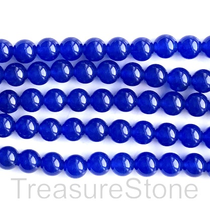 Bead, jade (dyed), blue, 8mm, round. 15-inch, 47pcs