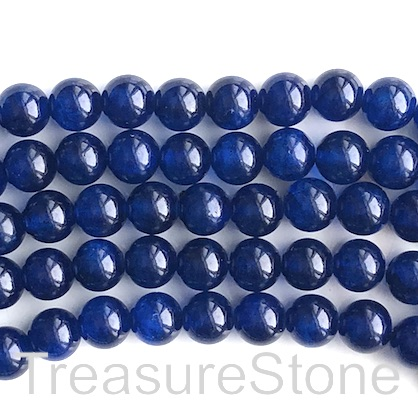 Bead, jade (dyed), dark blue, 8mm, round. 15.5-inch, 49pcs