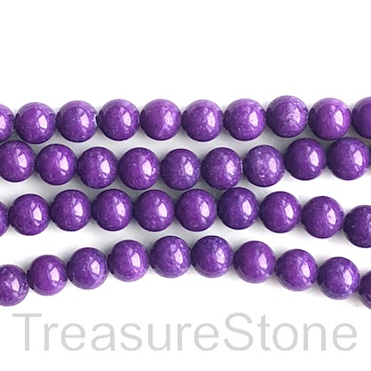 Bead, jade (dyed), purple, 8mm round, 16-inch, 51pcs