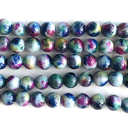 Bead, jade (dyed), green, blue, pink, 8mm round, 15.5inch, 49pcs