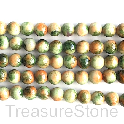 Bead, jade (dyed), green, orange, 8mm round, 16-inch, 49pcs