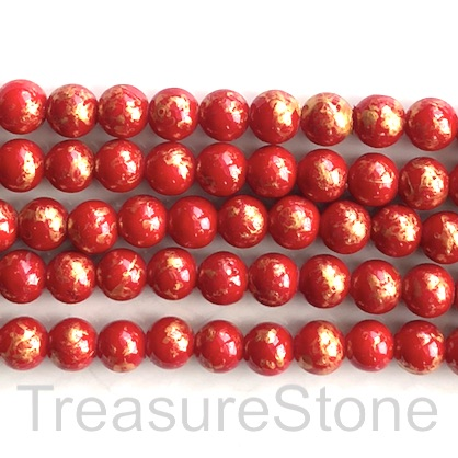 Bead, jade (dyed), red, gold foil, 8mm round, 16-inch, 52pcs