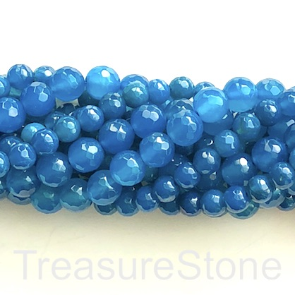Bead, jade (dyed), tilt blue, 8mm, faceted round. 15-inch, 48pcs