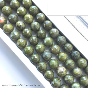 Bead, Jasper, 12mm faceted round. 16 inches strand.