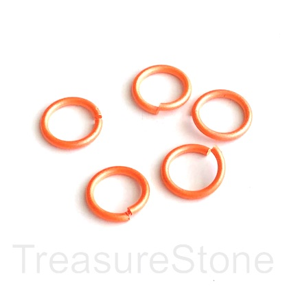 Jump Ring, aluminum, neon orange, 11mm, 1.5mm thick,15 gauge,50