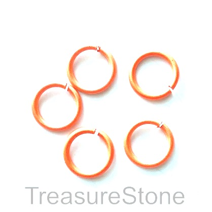Jumpring,aluminum, orange, 11mm. Pkg of 50