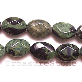 Bead, kambaba jasper, 14x18mm faceted oval. 16 inch strand