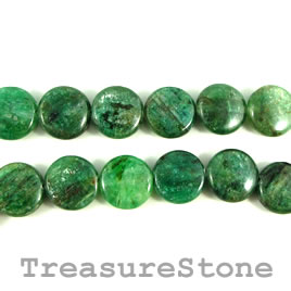 Bead, kyanite, green, 12mm flat round. 16-inch strand.