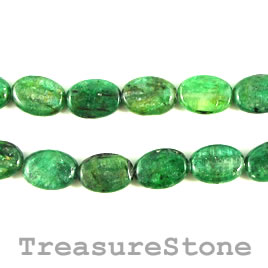 Bead, kyanite, green, 10x14mm oval. 16-inch strand.