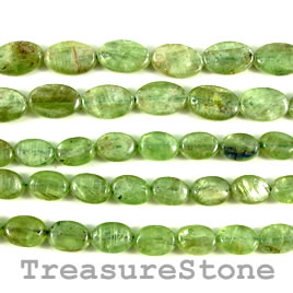Bead, kyanite, green, 8x12mm oval. 15.5-inch strand.