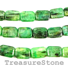 Bead, kyanite, green, 10x14mm rectangle. 16-inch strand.