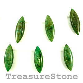 Bead, kyanite, green, 10x30mm teardrop. Pkg of 14.