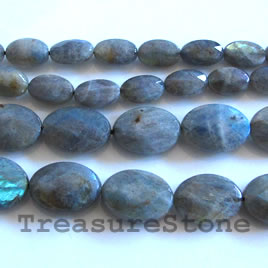 Bead, labradorite, 8x12mm faceted oval. 16 inch strand.