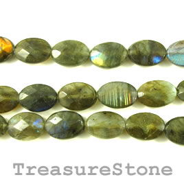 Bead, labradorite, grade B, 10x14mm faceted oval. 15.5 inch.