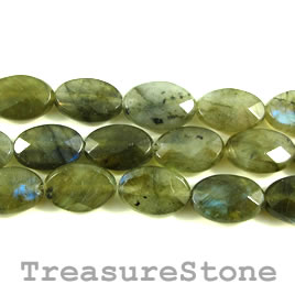 Bead, labradorite, grade B, 8x12mm faceted oval. 15.5 inch.