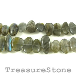 Bead, labradorite, 11 to 18mm flat nugget. 16 inch strand.