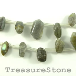 Bead, labradorite, 14 to 22mm top-drilled nugget. 19pcs.