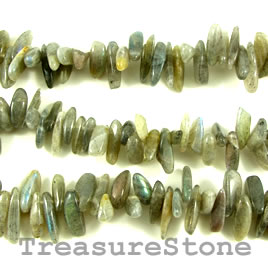 Bead, labradorite, 12 to 18mm top-drilled stick. 16 inch strand.