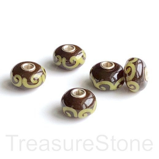 Bead,lampwork,10x16mm rondelle, brown1,silver large hole:3mm.ea