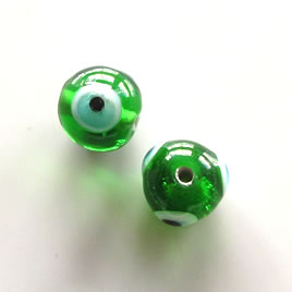 Bead, lampworked glass, green, 11mm round, evil eye. Pkg of 8.