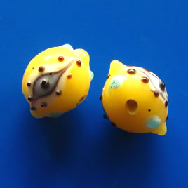 Bead, lampworked glass, yellow, evil eye,12x17mm bumpy. Pkg of 5