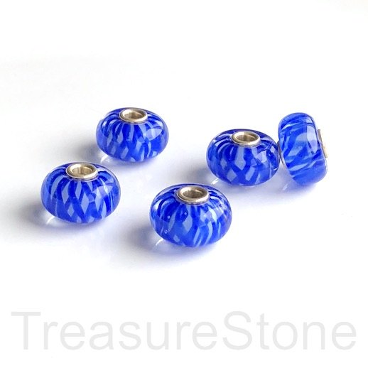 Bead,lampwork,10x16mm rondelle, blue,silver large hole:3mm.ea
