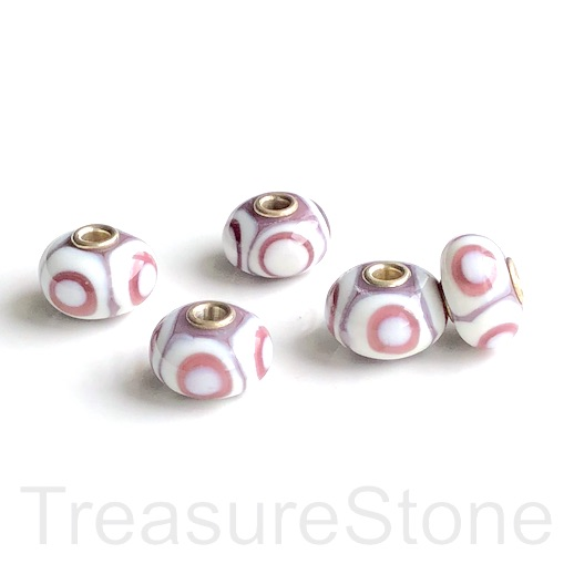 Bead,lampwork,10x16mm rondelle,pink,purle,silver large hole:3mm
