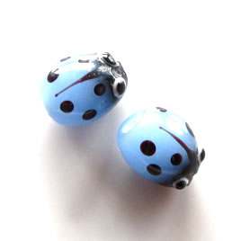 Bead, lampworked glass, 8x10mm ladybug. Pkg of 6pcs.