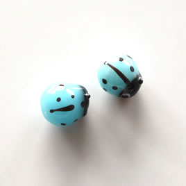 Bead, lampworked glass, blue, 8x10mm ladybug. Pkg of 6pcs.