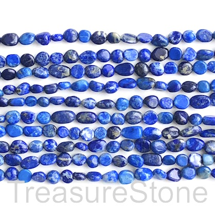 Bead, Lapis Lazuli, grade C, about 6x8mm nugget. 15.5 inch