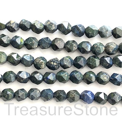 "Bead, Lapis Lazuli, pyrite, 8mm faceted, star cut. 14"", 45pcs"