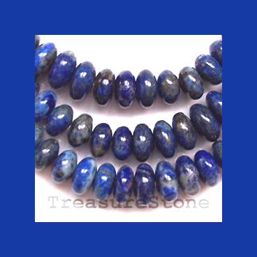 Bead, Lapis Lazuli, 4x2mm to 10x6mm graduated rondelle.16 inch