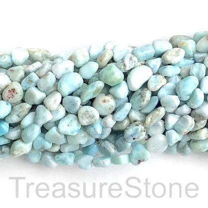 Bead, Larimar, grade C, about 6x8mm nugget. 15.5 inch