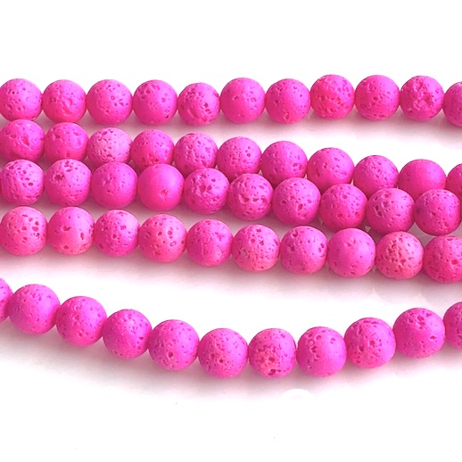 Bead, lava, neon pink, 6mm round. 15-inch, 62pcs