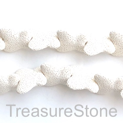 Bead, Lava, 28x30mm butterfly, white. 15pcs