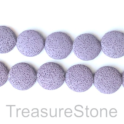 Bead, Lava, 27mm coin, purple. 15-inch, 14pcs
