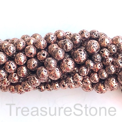 Bead, copper plated lava, 8mm round, B grade. 15.5-inch,48pcs