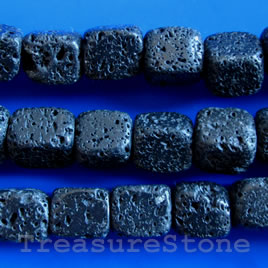 Bead, black lava, 12x14mm block, 16-inch strand.