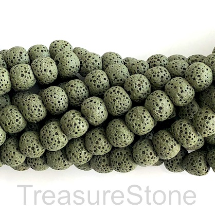 Bead, dark green lava (dyed), about 8mm round. 15-inch, 50pcs